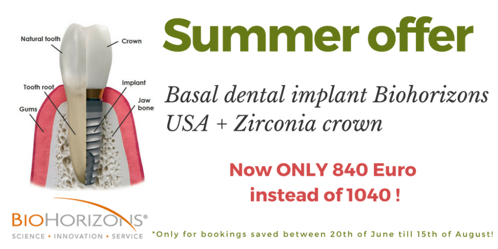 Basal Dental Implant with Zirconia crown
